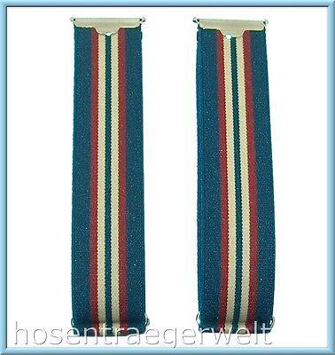 Ärmelhalter, blau mit Streifen, aus feinem Band, 2,5 cm breit