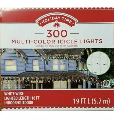 NEW Holiday Time 300 Multi-Color Icicle Lights White Wire 19 Feet Indoor/Outdoor