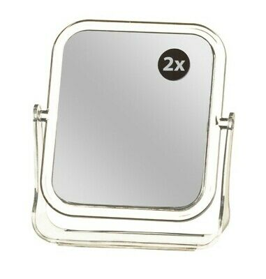 New FREE STANDING MIRROR Small Cosmetic Make up Rectangle Double Two Sided Fold