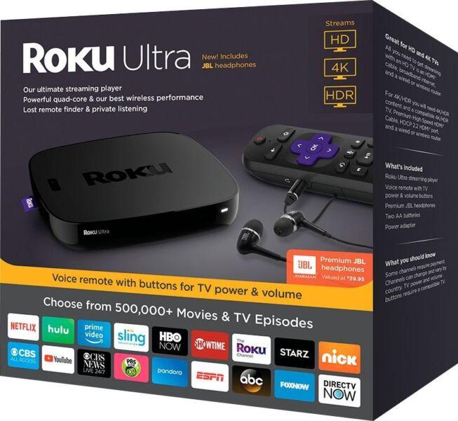 Roku ULTRA Streaming Player HD Media IT Movies TV Netflix Ultra 4K HDR 2018 Ver
