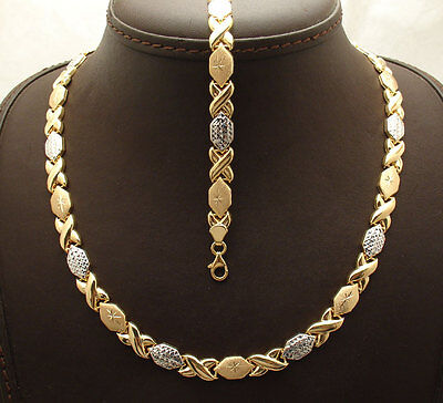 Diamond Cut Hugs & Kisses Bracelet Necklace Set 14K Two-Tone Gold Clad Silver