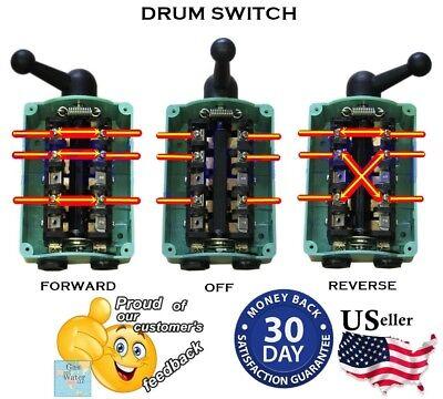 Drum Switch Forward Off Reverse Motor Control RainProof 60A Reversing Guaranteed