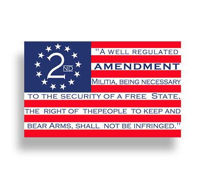 USA American 2nd Amendment Sticker Car Window Bumper Decal Cup Cooler Gun Flag ()