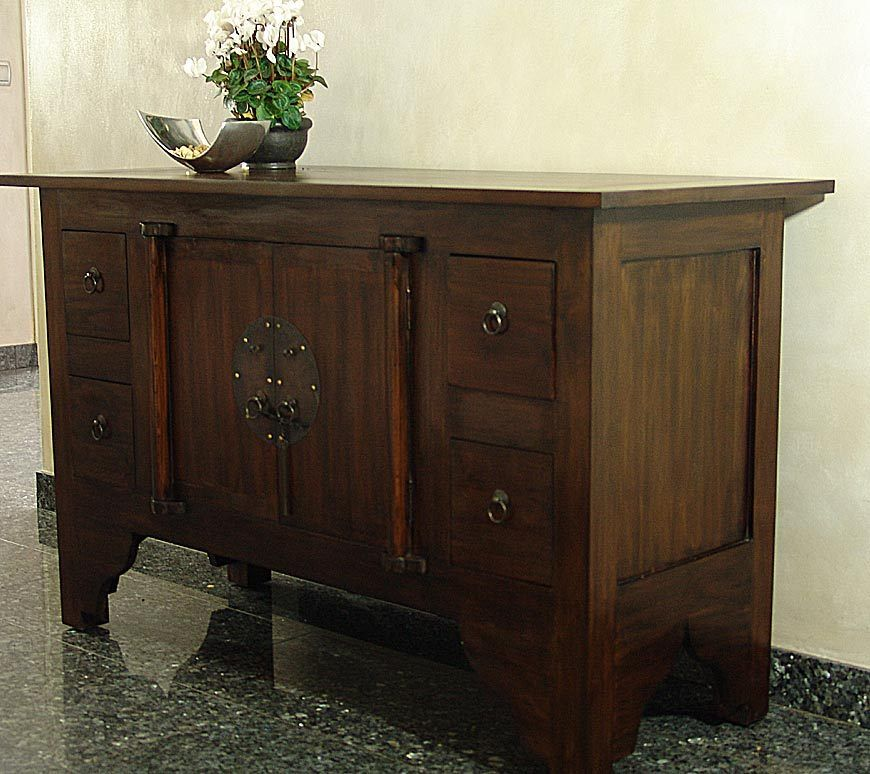 massiv sideboard kommode schrank holz kolonial massivholz. Black Bedroom Furniture Sets. Home Design Ideas