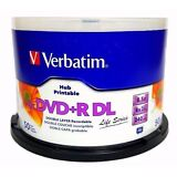 VERBATIM 8X Blank DVD+R DL Dual Double Layer 8.5GB 50pk White Inkjet Printable