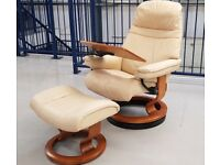 Ekornes Stressless swivel recliner leather chair & foot stool Cream with table