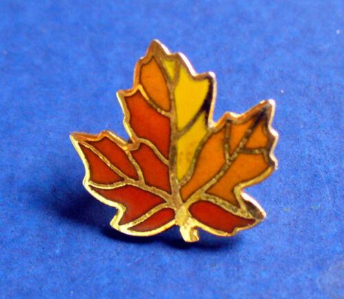 Hallmark PIN Thanksgiving Vintage MAPLE LEAF Autumn CLOISONNE Tie Hat Tac