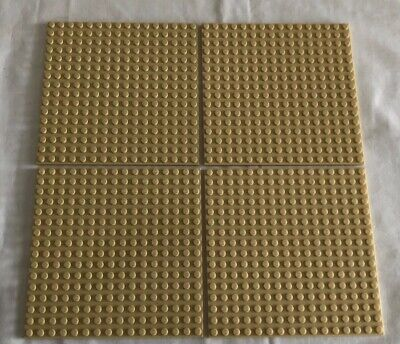 "LEGO Lot of 4 Base plates TAN 16x16 dot 5""x5"" square base plate Used"