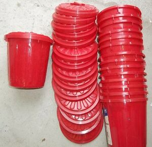 PLASTIC MINI GARBAGE CANS WITH LOCKING LIDS .50 EACH