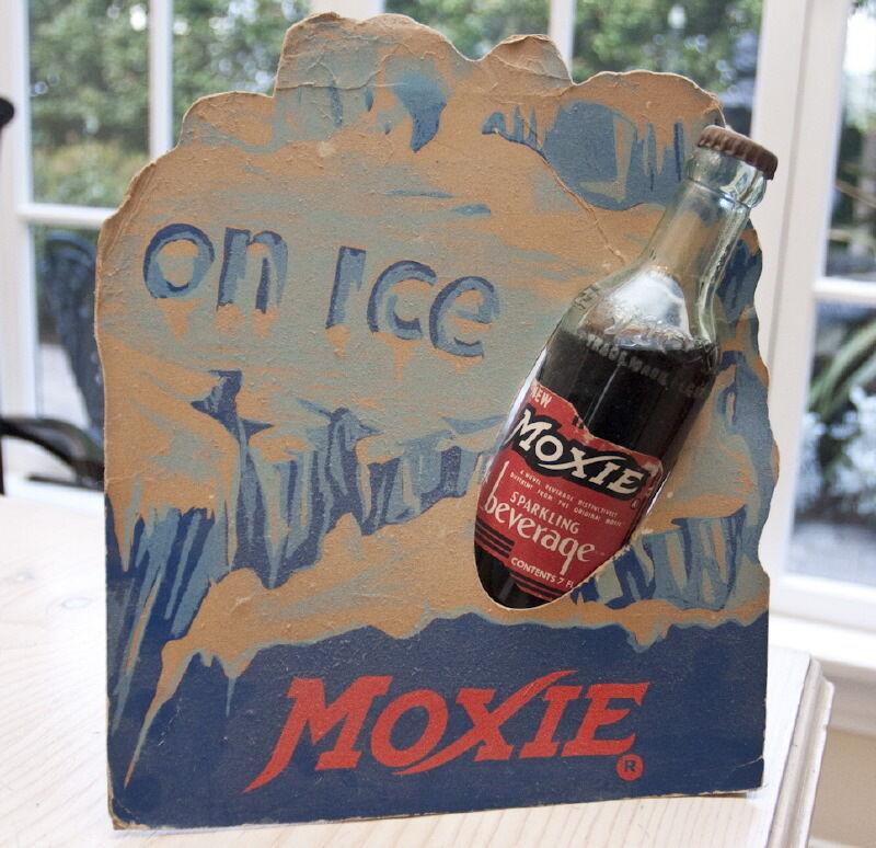 RARE MOXIE SODA CARDBOARD COUNTER DISPLAY SIGN  Original rare w/ bottle.