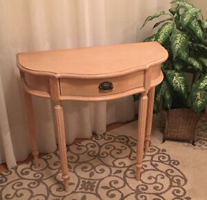"""Two """"half moon"""" console/side tables"""