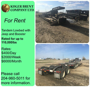 Tandem Lowbed with Jeep and Booster for Rent