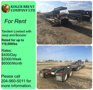 Tandem Lowbed Trailer with Jeep and Booster for Rent