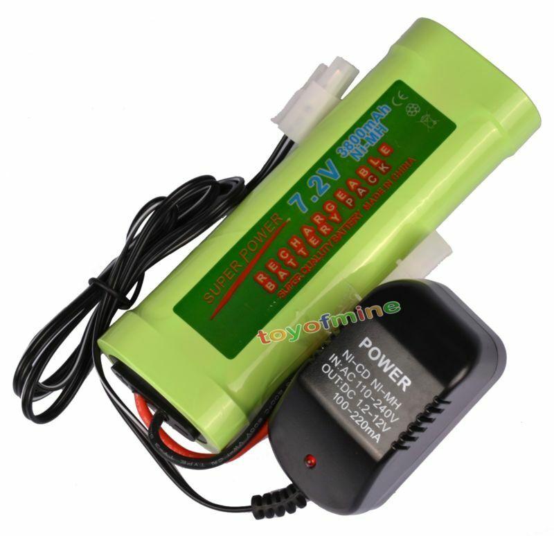 1 pcs 7.2V 3800mAh Ni-Mh rechargeable battery pack RC Tamiya Plug + Charger USA