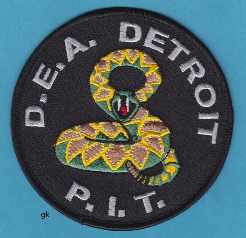 DETROIT DEA P.I.T DRUG ADMINISTRATION PIT RATTLESNAKE POLICE SHOULDER PATCH