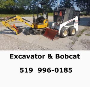 Excavator and Bobcat