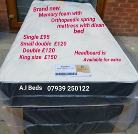 Brand new Memory foam with spring mattress with divan beds