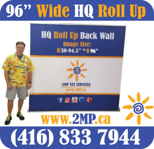 8' Wide Retractable Banner Stand Trade Show Pop Up Wall + PRINT