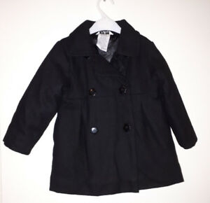Sweet black double-breasted dress coat, 24 mths