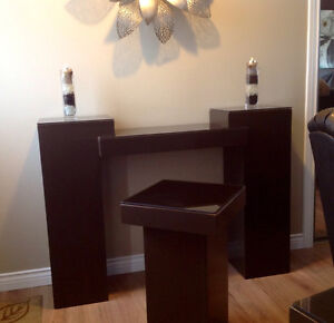 Beautiful console table and two side tables (hardwood)