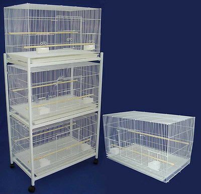Lot of 4 Bird Breeding Cages 30x18x18 With Stand With Divider White-142