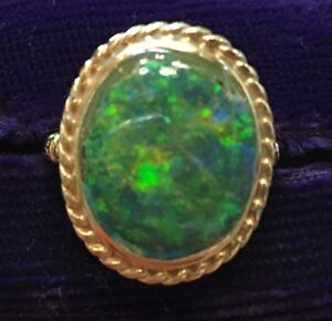 Ladies Green Fire Opal Ring