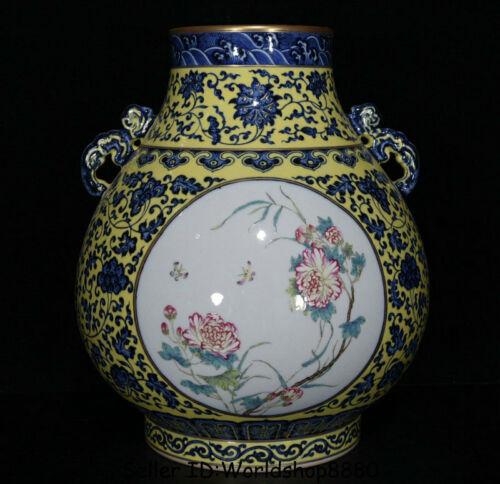 """13.2"""" Qianlong Marked China Yellow Blue White Porcelain Flower Birds Bottle Vase"""