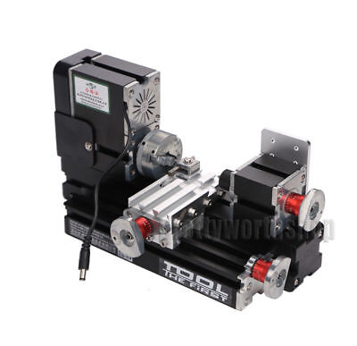 60w Power Metal Mini Lathe Machine Woodworking Soft Metal Diy Tool Modelmaking
