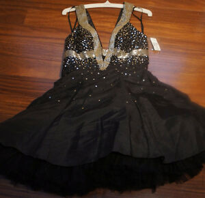 Chicas size small black bejewelled prom dress