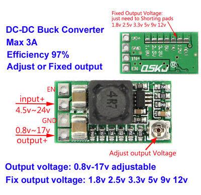 3A DC-DC 1.5V 3V 3.3V 5V 9V 12V Step Down Buck Converter Adjustable Mini Module