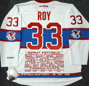 PATRICK ROY CANADIENS THE ROCKET LTD/ED-49 RBK STATS JERSEY