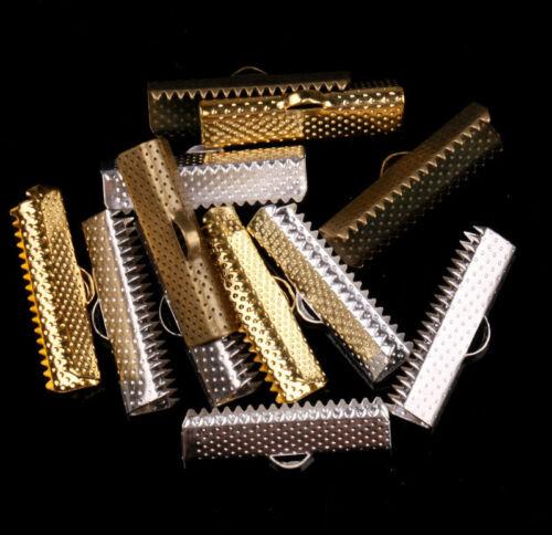 50pcs-Silver-Golden-Bronze-Dull-Silver-Over-Clip-Tip-Cord-Crimp-New-EndBead-Cap