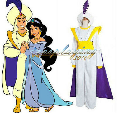 Aladdin Prince Costume Custom Cosplay Full Set Halloween Party Adult Kids - Adult Halloween Custom