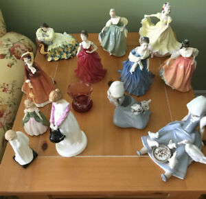 For Sale:  Royal Doulton & Lladro figurines and Vilas cabinet