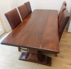 REFECTORY STYLE SOLID MAHOGANY DINING TABLE AND CHAIRS