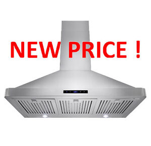 """36"""" Wall Mount 680 CFM Range Hood Vent With Baffle Filters"""