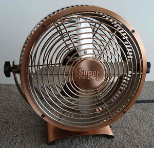 Retro style copper desktop fan