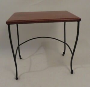 WROUGHT IRON AND WOOD END OR HALL TABLE