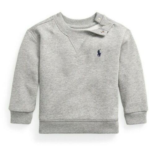 Ralph Lauren Baby Boys Fleece Crewneck Sweatshirt, Size 3M Andover Heather Grey