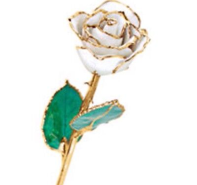24K YELLOW GOLD DIPPED LACQUERED ROSE April Diamond White Real Long Stem Rose