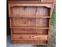 Solid Pine Dresser Top With Open Display Shelves Plate Shelf And Two Drawers