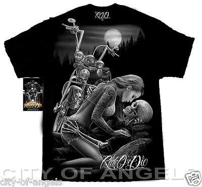 (Lovers Ride Or Die Motorcycle Biker DGA David Gonzales Art West Coast T Shirt)