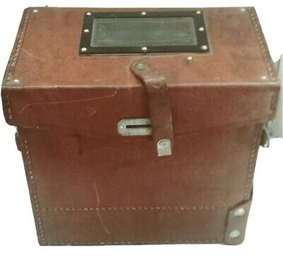 BROWN LEATHER MYSTERIOUS JEWELLERY VINTAGE BOX , 1960 CUTE CASE LEATHER STRAPS