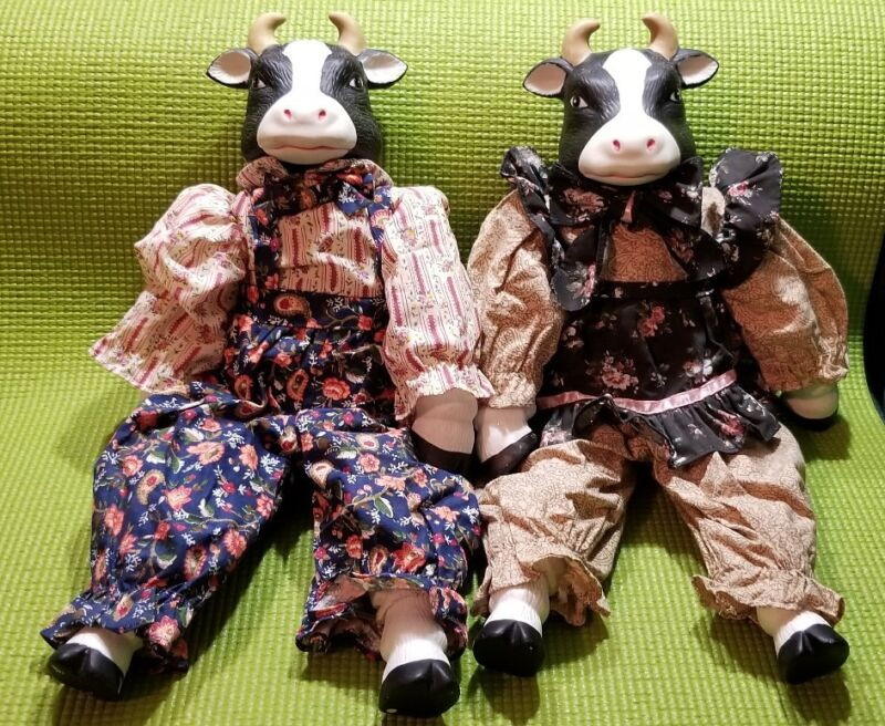 "CERAMIC COW DOLL COUPLE 14"""