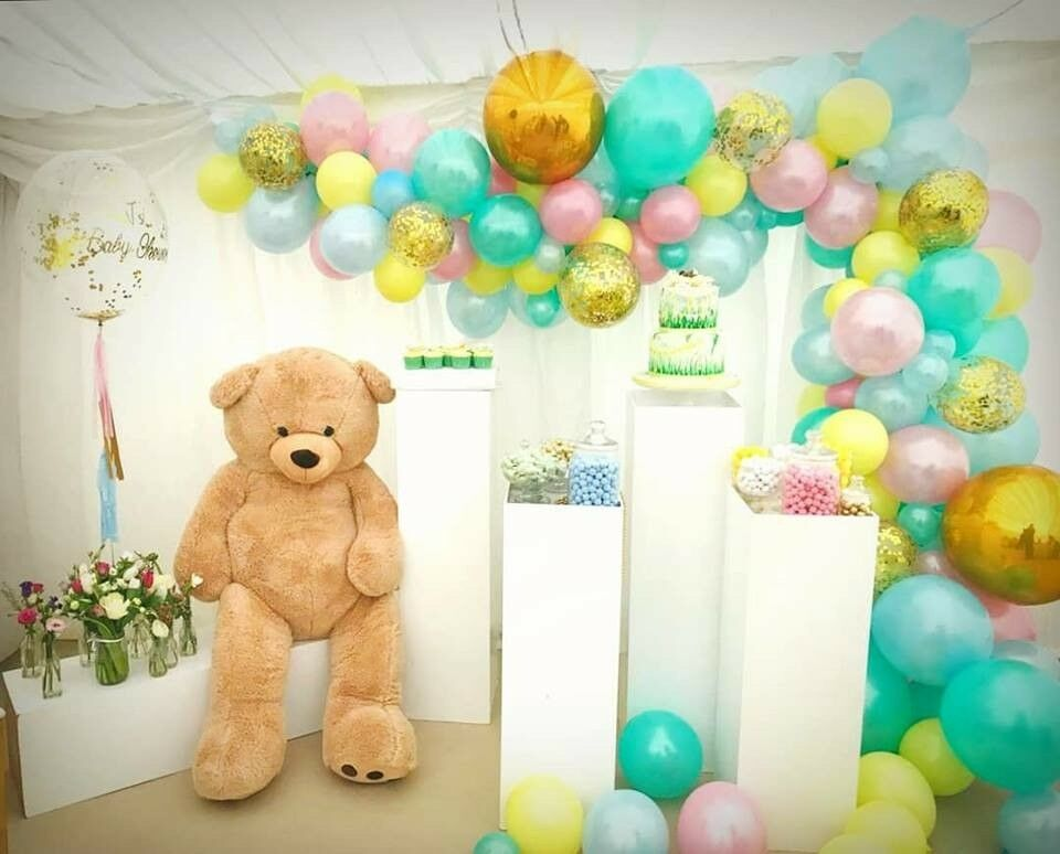 Balloon Decorations Chair Cover Hire Flower Wall Birthday Cake Table