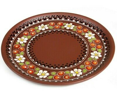 "10"" Plate Natural Clay Serving Baking Round Dish Plate Tray w/ Cherry Artwork"