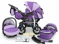 Pram, Car Carrier Seat and Sport Buggy + Accessories. -- 3 in 1 Travel System All in One Set