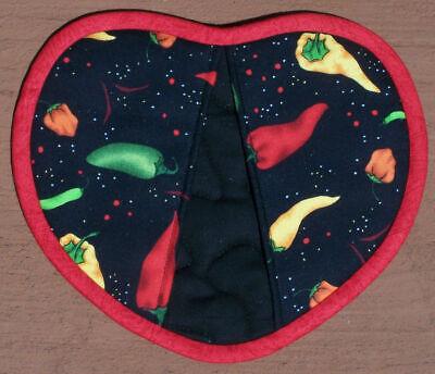 Heart Shaped Chili Peppers Vegetables Garden Oven Mitt Pot Holder Handmade