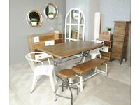 Steel & Rustic Hardwood Industrial Dining Table 6-Seater / 5ft x 3ft