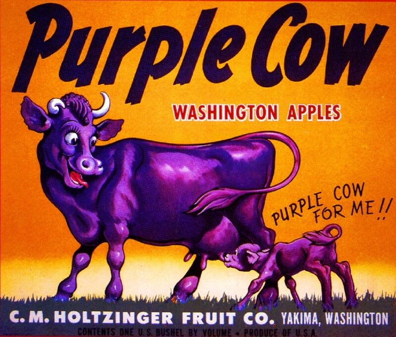 Yakima Washington State Purple Cow Apple Fruit Crate Label Art Print